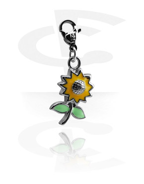 Charms, Charm with Flower Design, Surgical Steel 316L