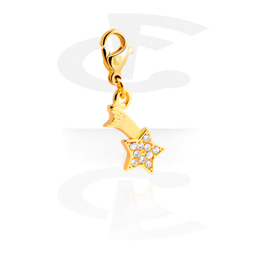 Charms, Charm with Winter Design, Gold Plated Surgical Steel 316L
