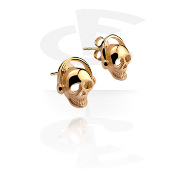 Earrings, Studs & Shields, Ear Studs with Skull Design, Gold Plated Surgical Steel 316L