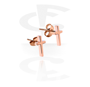 Kolczyki, Ear Studs, Rosegold Plated Surgical Steel 316L