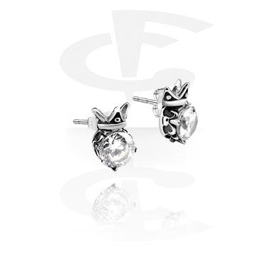 Studs de orelha com pedra de cristal