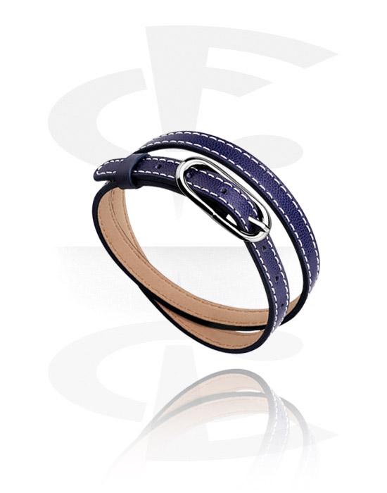 Koraliki płaskie, Bracelet for Flat Beads, Sztuczna skóra, Stal chirurgiczna 316L