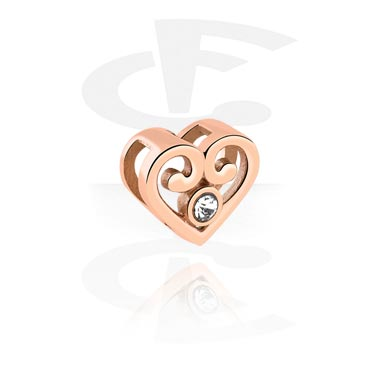 Cuentas Planas, Cuenta plana para pulseras planas con Diseño corazón, Acero quirúrgico 316L chapado en oro rosa