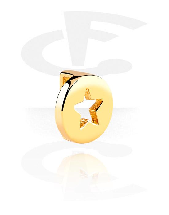 Flatbead, Flat-perlina per bracciale, Acciaio chirurgico 316L con placcatura in oro