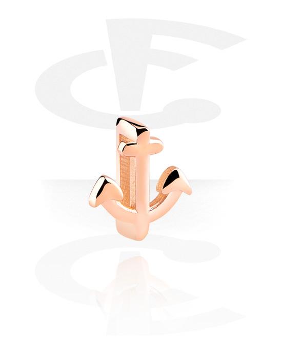 Flatbead, Flat-perlina per bracciale, Acciaio chirurgico 316L placcato in oro rosa