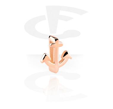 Cuentas Planas, Cuenta plana para pulseras planas, Acero quirúrgico 316L chapado en oro rosa