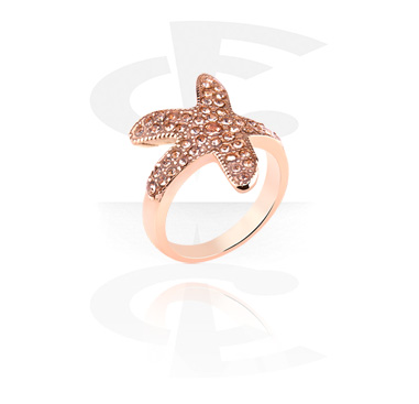 Rings, Ring with sea star design, Rosegold Plated Surgical Steel 316L