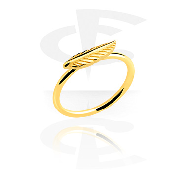 Rings, Ring with feather attachment, Gold Plated Surgical Steel 316L