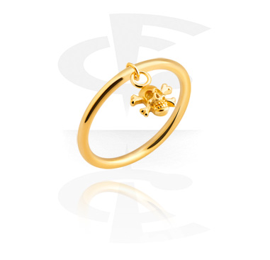 Rings, Ring with skull pendant, Gold Plated Surgical Steel 316L