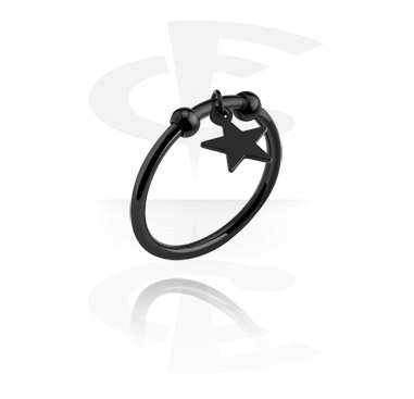 Rings, Ring with star pendant, Surgical Steel 316L