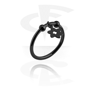 Rings, Ring with flower charm, Surgical Steel 316L