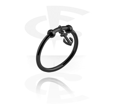Rings, Ring with anchor pendant, Surgical Steel 316L