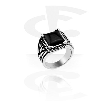 Rings, Ring, Surgical Steel 316L, Onyx Stone