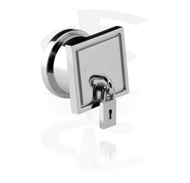 Tunnels & Plugs, Flesh Tunnel with Padlock, Acier chirurgical 316L
