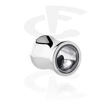 Tuneli & čepovi, Double Flared Plug with Crystal Stones, Surgical Steel 316L