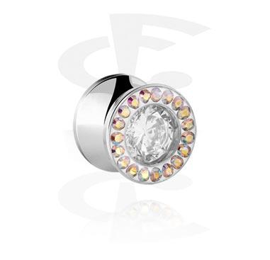 Tuneli & čepovi, Jeweled Double Flared Plug, Surgical Steel 316L