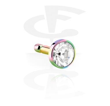 Pallot ja koristeet, Anodised Steel Jeweled Disk for Bioflex Internal Labrets, Surgical Steel 316L