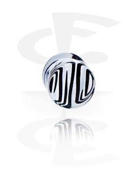 Tunnels & Plugs, Plug with Zebra Pattern, Acryl