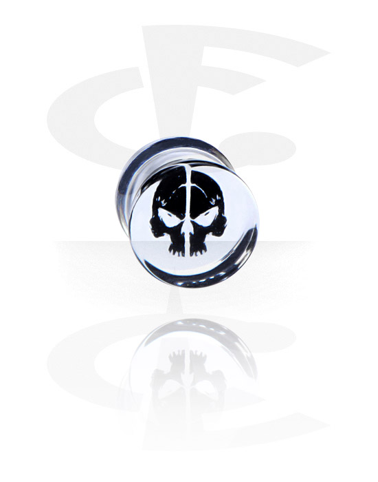 Tunnels & Plugs, Plug with Skull Design, Acrylic
