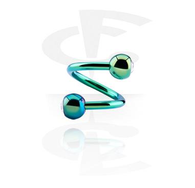 Spirali, Spirale anodizzata con palline con brillantino, Acciaio chirurgico 316L
