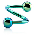 Spiraalikorut, Anodized Spiral kanssa jewelled balls, Surgical Steel 316L