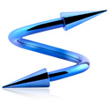 Spiraalikorut, Anodized Spiral kanssa long cones, Surgical Steel 316L