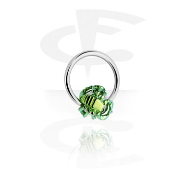 Kółka do piercingu, Ball Closure Ring with Anodised Scorpion, Surgical Steel 316L