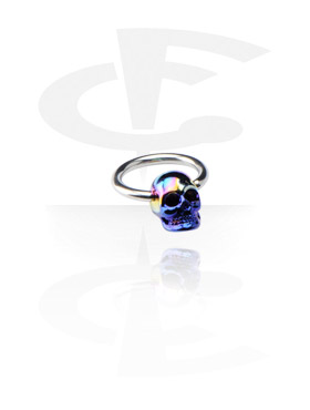 Piercing Rings, Ball Closure Ring with Anodized Skull, Surgical Steel 316L