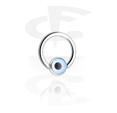 Кольцо с застежкой-шариком с глазом