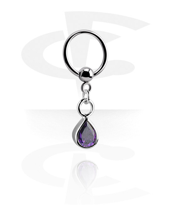 Renkaat, Ball closure ring kanssa charm, Kirurginteräs 316L, Pinnoitettu messinki