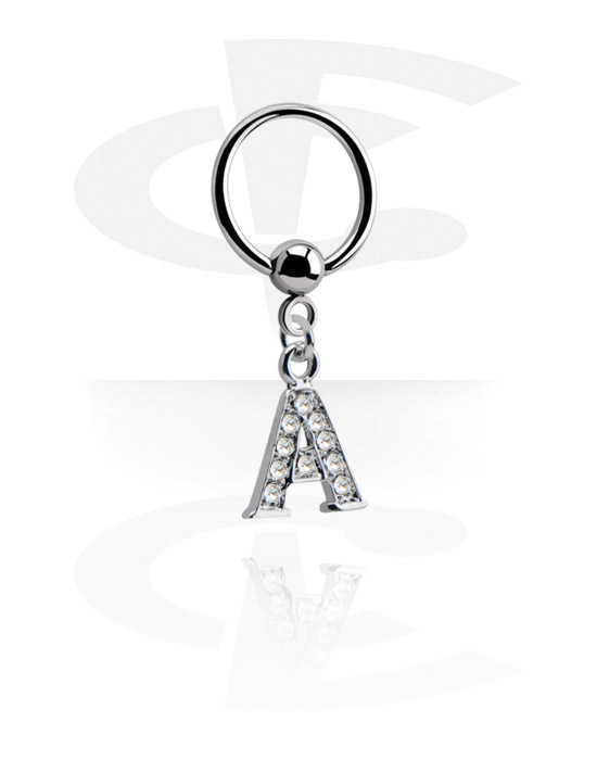 Piercing Rings, Ball Closure Ring with charm, Surgical Steel 316L, Plated Brass