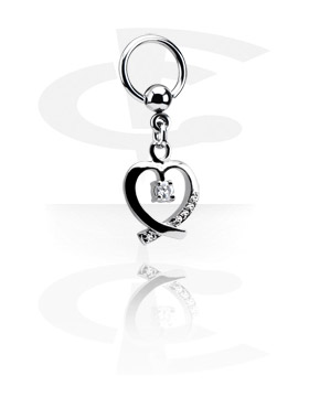 Alke za piercing, Ball Closure Ring with Charm, Surgical Steel 316L