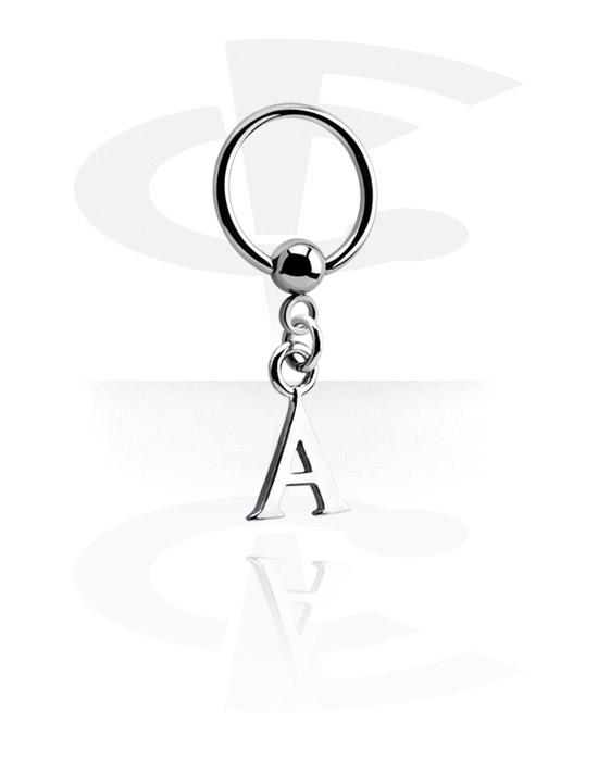 Piercing Ringe, Ball Closure Ring mit Anhänger, Chirurgenstahl 316L, Plattiertes Messing