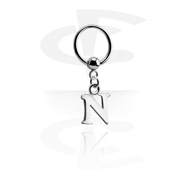Кольцо с застежкой - шариком и подвеской