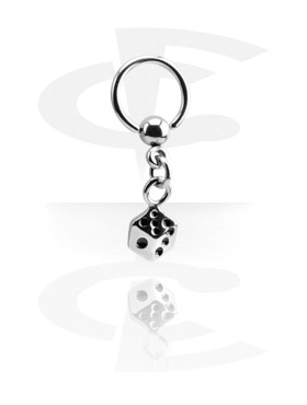 Renkaat, Ball Closure Ring with Charm, Surgical Steel 316L