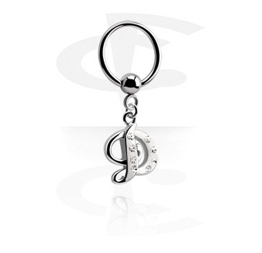 Piercingové kroužky, Ball Closure Ring with Charm, Surgical Steel 316L