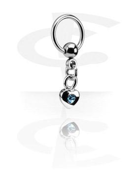 Anneaux, Ball Closure Ring avec Charm, Acier chirurgical 316L