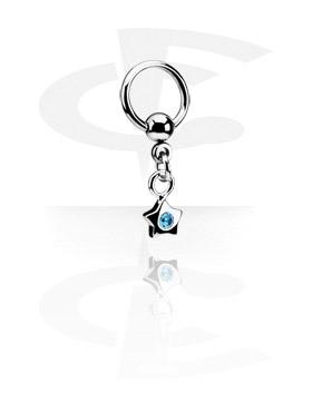 Piercing Anillos, Ball Closure Ring con Charm, Acero quirúrgico 316L