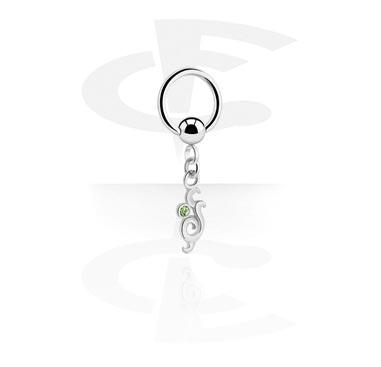 Кольцо с застежкой - шариком с подвеской