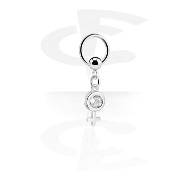 Kółka do piercingu, Ball Closure Ring with Charm, Surgical Steel 316L