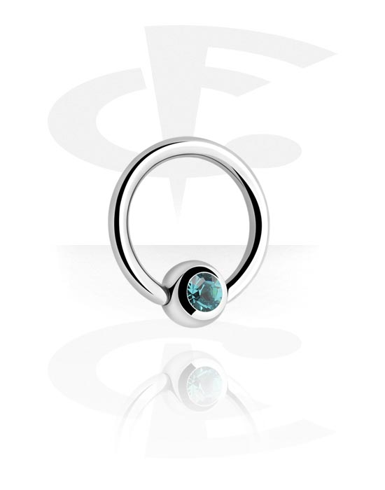 Renkaat, Ball closure ring kanssa crystal stone, Kirurginteräs 316L