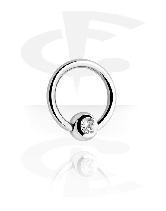 Piercing Ringe, Ball Closure Ring mit Kristallstein, Chirurgenstahl 316L