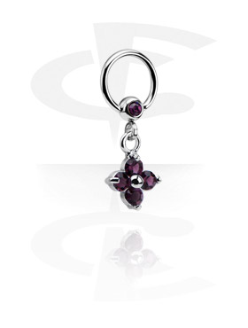 Kółka do piercingu, Jeweled Ball Closure Ring with Charm, Surgical Steel 316L
