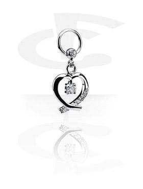 Kółka do piercingu, Jeweled Ball Closure Ring with Charm, Surgical Steel 316L