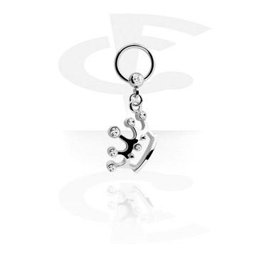 Jeweled Ball Closure Ring met hangertje