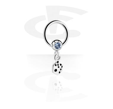 Renkaat, Jeweled Ball Closure Ring with Charm, Surgical Steel 316L