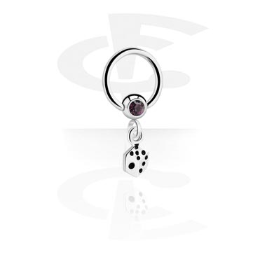Jeweled Ball Closure Ring avec Charm
