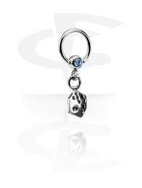 Anneaux, Jeweled Ball Closure Ring avec Charm, Acier chirurgical 316L