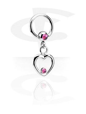 Piercing Anelli, Jeweled Ball Closure Ring con Charm, Chirurgico acciaio 316L
