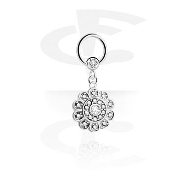 Piercingové kroužky, Jewelled Ball Closure Ring with Charm, Surgical Steel 316L